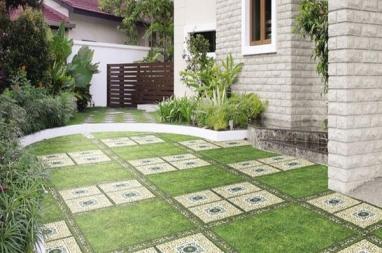 Gạch terrazzo được sử dụng để lát sân vườn