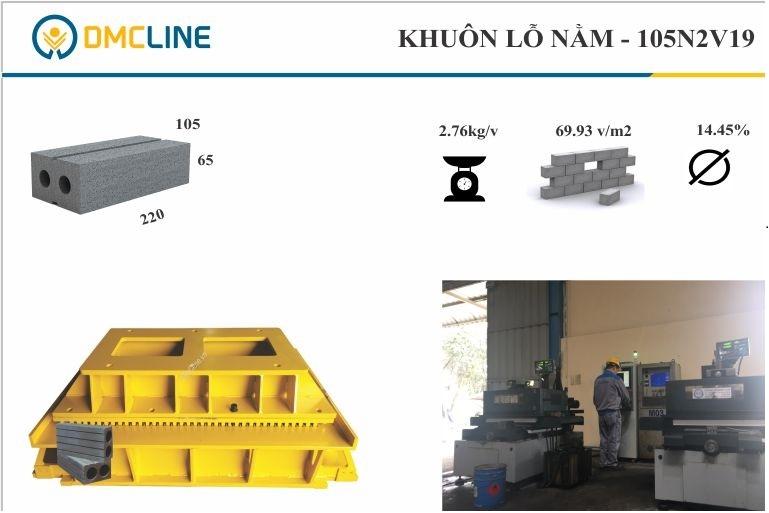 Khuôn gạch bê tông 2 lỗ KT: 220x105x65mm