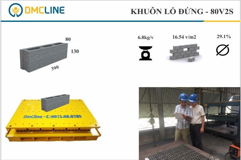 khuôn gạch bê tông 3 lỗ đứng KT: 390x80x130mm