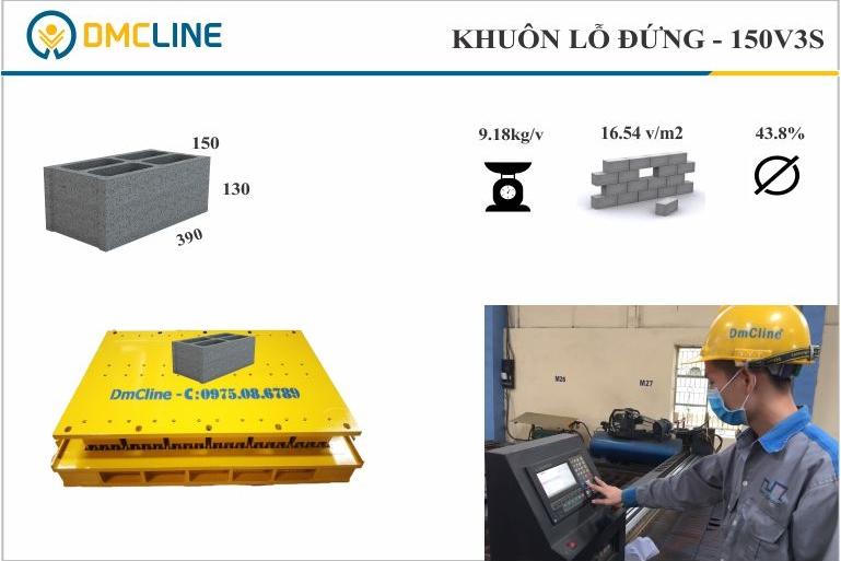 Khuôn gạch block 4 lỗ đứng KT: 390x150x130mm