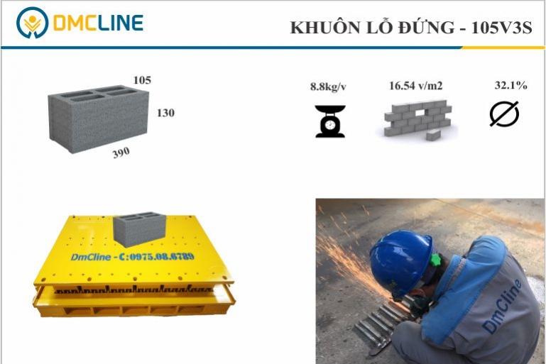 khuôn gạch block bê tông 4 lỗ đứng KT: 390x105x130mm