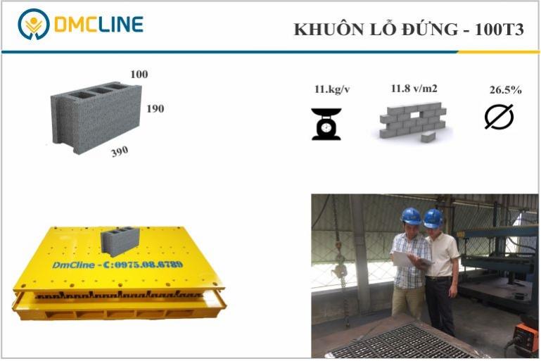 Khuôn gạch cốt thép KT: 390x100x190mm