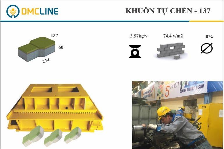 Khuôn gạch tự chèn chìa khóa KT: 224x137x60mm