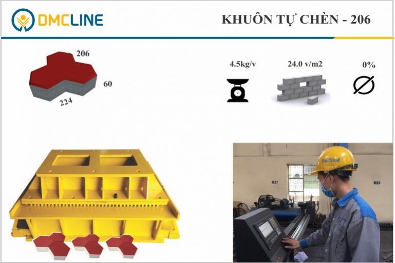 Khuôn gạch tự chèn con sâu KT: 204x206x60mm