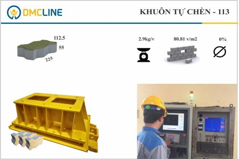 Khuôn gạch tự chèn con sâu KT: 225x112,5x55mm