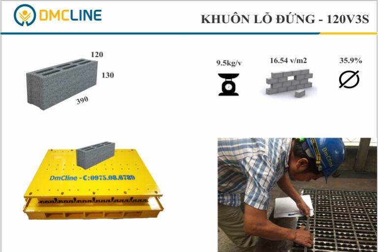 Khuôn gạch xây 6 lỗ đứng KT: 390x120x130mm