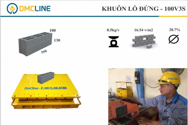 khuôn gạch xi măng 6 lỗ đứng KT: 390x100x130mm