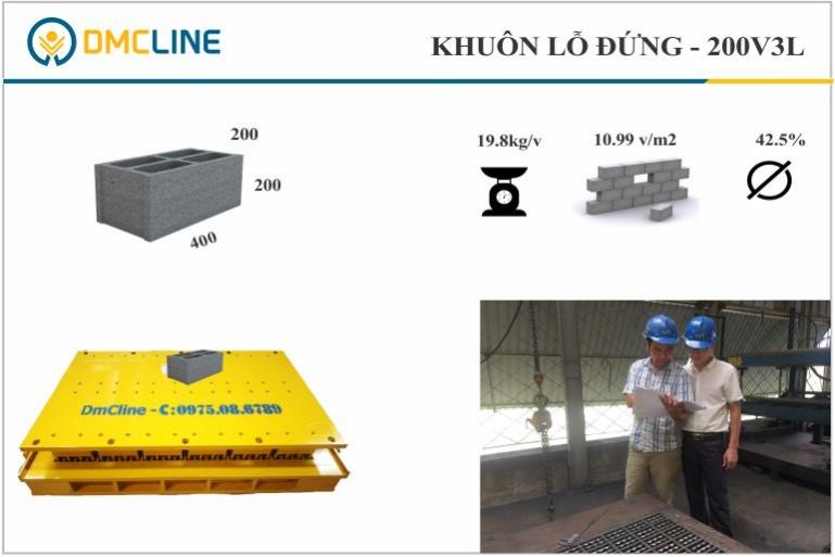 Khuôn gạch xi măng cốt liệu KT: 400x200x200mm