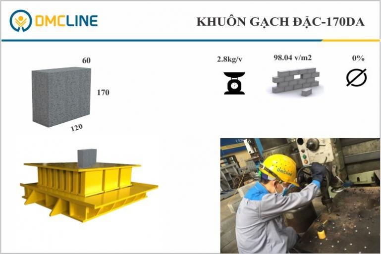 Khuôn gạch bê tông xây chèn kích thước 60x170x120mm