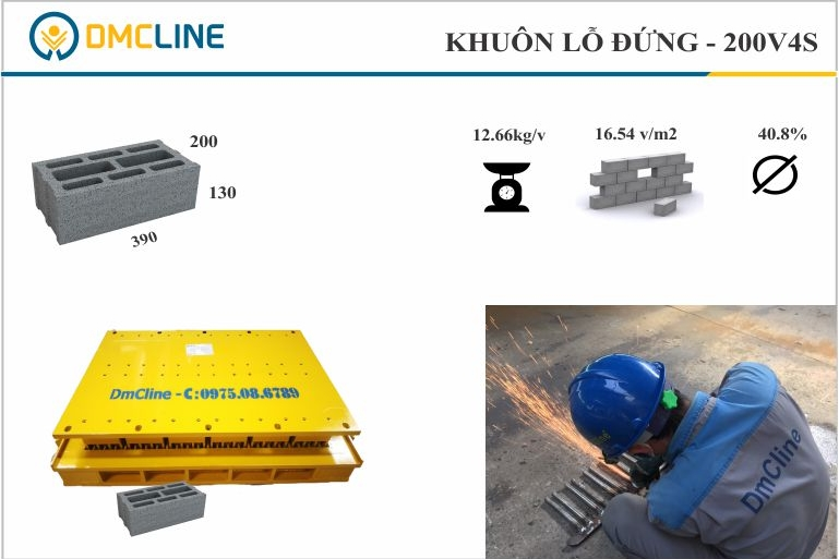 Kích thước gạch bê tông 4 thành vách KT: 390x200x130mm
