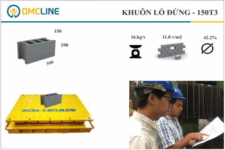 Kích thước gạch bê tông cốt thép: 390x150x190mm