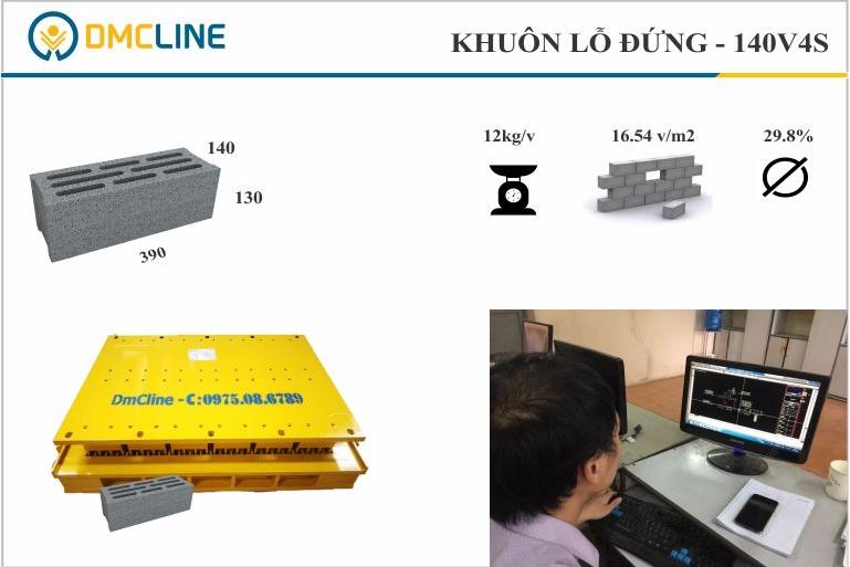 Kích thước gạch block 3 thành vách KT: 390x140x130mm