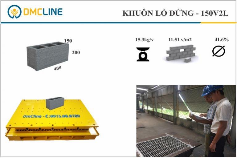 Kích thước gạch block: 400x150x190mm