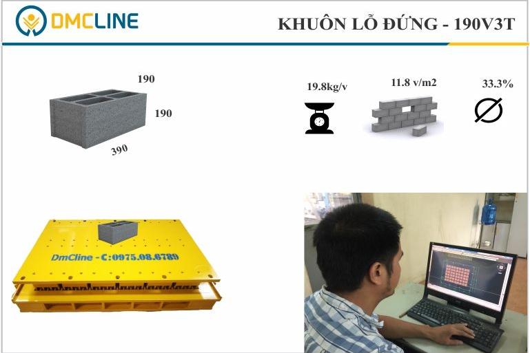 kích thước khuôn gạch xây: 390x190x190mm