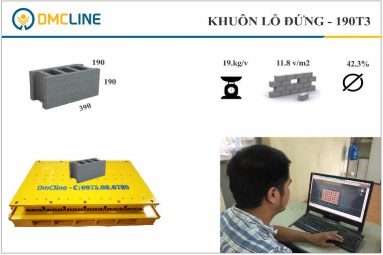 Thông số gạch bê tông cốt thép KT: 390x190x190mm